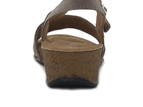 Sandalo Atema IN pelle, con suola anatomica, leggera e flessibile, zeppa 4cm., estivo-7712T