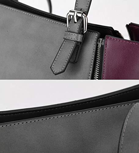 Gray color América Europa Las Pu Y Size Gray One Señoras Tamaño Simple Zjexjj Moda Regalo De Viento Bolso Retro Mujer Bolsos nWEZR