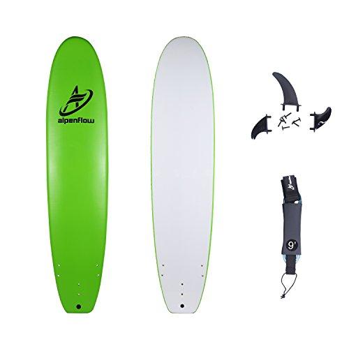 A ALPENFLOW 8'8'' Soft Top Surfboard 8ft8 Foam Surf Board Softboard Longboard with Fins and Leash (Best Soft Top Surfboard)