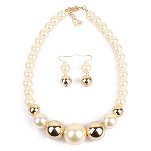 KOSMOS-LI Imitate big Pearl Choker Necklace With Earrings Set