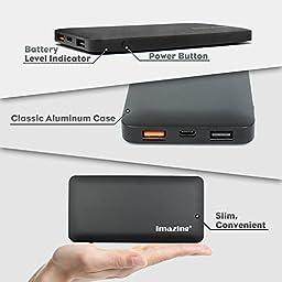 Imazing 10000mah Qualcomm Quick Charge 3.0 Type C 5V/3A input & output Power Bank Portable Charger External Battery Pack 3A + 3.0 5V 9V 12V (Black)