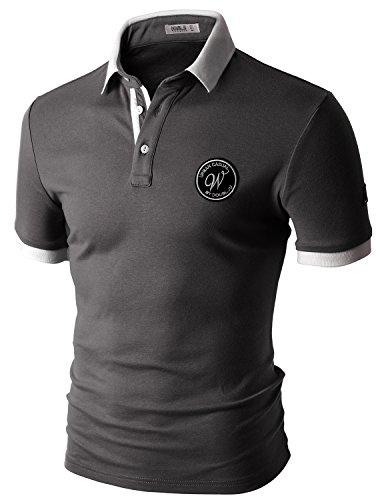 Doublju Mens round logo patched short sleeve polo shirts