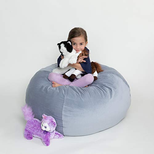 XL Stuffed Animal Storage Bean Bag Chair For Kids - Stuff & Organize Plush Toy Animals 38 Inch Soft Beanbag Covers Only Without Filling - Smart Bean Bags Cover For Pillows, Blankets & Toys - Grey