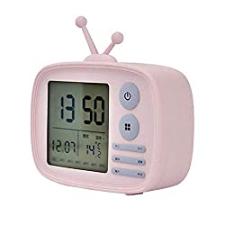 HHmei Digital LCD Travel Alarm Clock with Snooze Good Night Light Sound Alarm - Retro TV Multi-Function Voice time Snooze Alarm Clock LJA-001 (Pink)