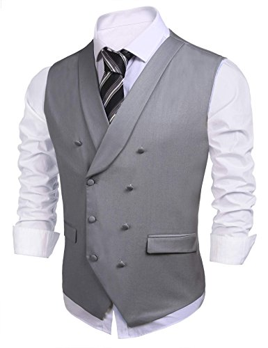 Coofandy Men V-neck Solid Waistcoat Double Breasted Slim Fit Casual Suit Vest Grey Large (Double Breasted Shawl Collar)