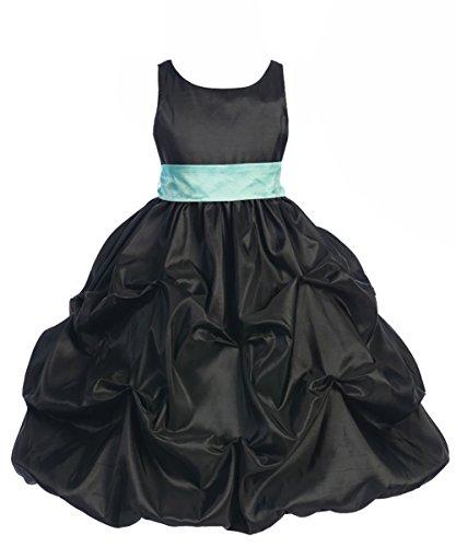 Alivedre Sleeveless Satin Gathered Skirt Junior Bridesmaid Dress Flower Girl Dress Size US 10T Black