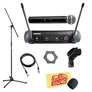shure pgx24 sm58 wireless handheld microphone system pack with mic stand xlr cable. Black Bedroom Furniture Sets. Home Design Ideas