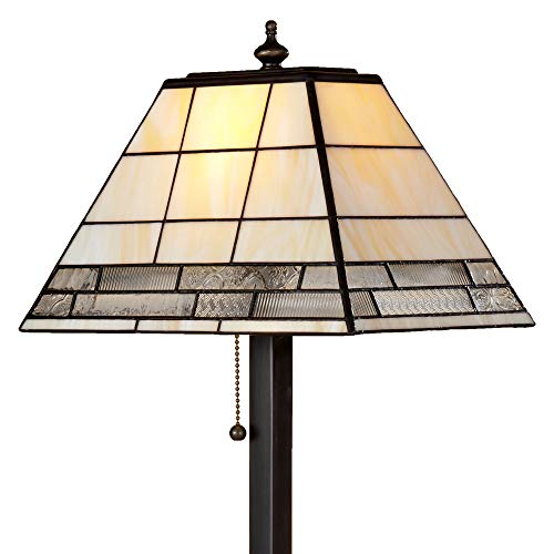(J Devlin Lam 657 TB Tiffany Stained Glass Mission Table Lamp Ivory Opalescent and Clear Textures)