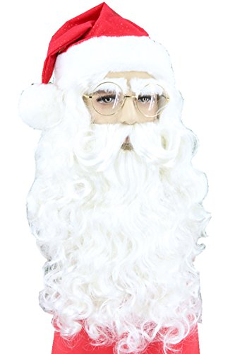 Topcosplay Christmas Santa Wig Beard Set Santa Suit Costumes -