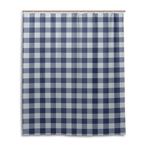 ENEVOTX Playground Navy Blue White Gingham Check Wallpaper Polyester Fabric Shower Curtain Durable Waterproof with 12 Hooks Bathroom Fabric Curtains for Bathtub Showers 60