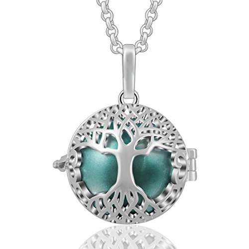 AEONSLOVE Silver Celtic Tree of Life Melody Harmony Ball Chime Bell Pendant Necklaces for Women Gifts