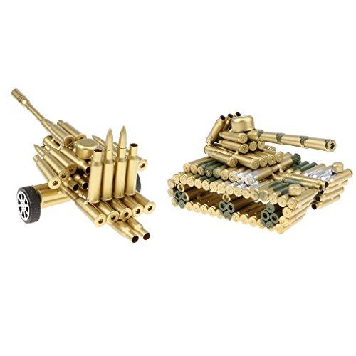 Artillery Shell - Homyl Retro Metal Art Craft Bullet Shell Artillery + Tank Sculpture Model Collectibles Showcase Display