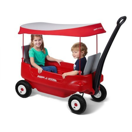 Radio Flyer Deluxe All-Terrain Pathfinder Wagon with Canopy All-terrain air tires for a smooth (Pathfinder Wagon)