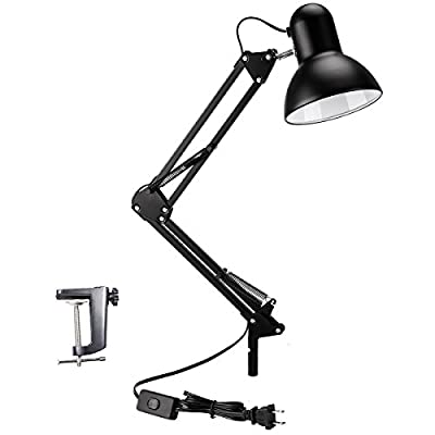 100% Metal Swing Arm Desk Lamp, Vanlay Architect Desk Clamp Mounted Light for Home Office Studio, with Metal Clamp and 7.5ft Lengthened Cable