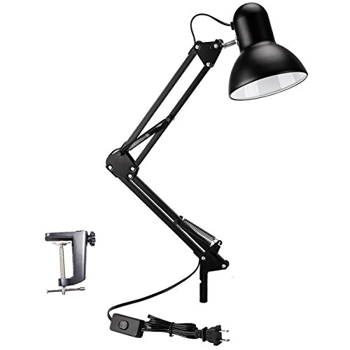 100% Metal Swing Arm Desk Lamp, Vanlay Architect Clip On Table Lamp, Multi-Joint, Adjustable Arm, Metal Clamp, 7.5ft Lengthened Cable, Suitable for for Home Office (Halogen Clamp)