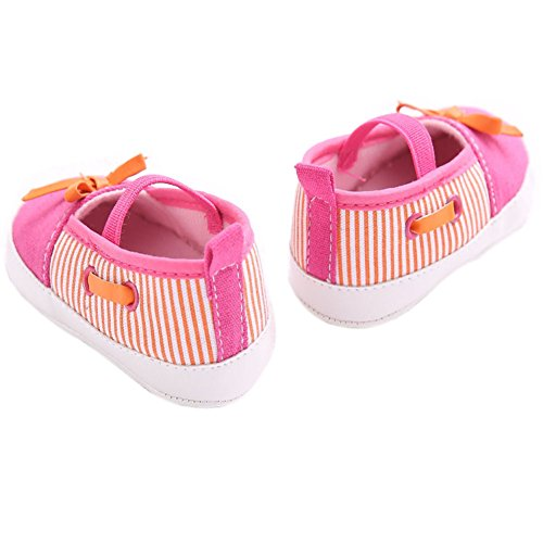 etrack-online Baby Girl Rosa Rayas Barco Mocasines Zapatos de slio-on as the picture Talla:12-18months as the picture