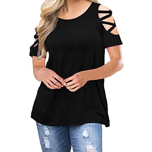 Sunhusing Ladies Solid Color Cross Bandage Off-Shoulder Short Sleeve Top Slim Fit T-Shirt Black -
