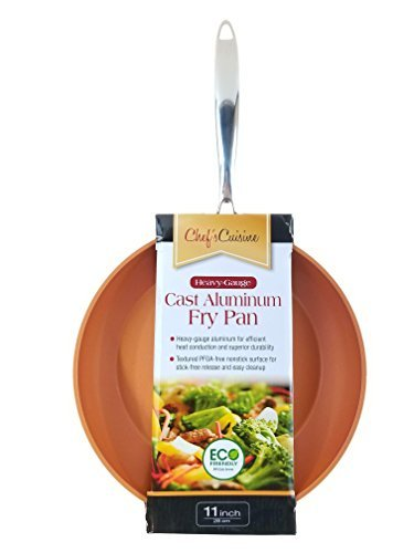 """Chef's Cuisine Copper 9.5"""" Professional Grade Heavy Gauge Cast Aluminum Non stick Fry Pan with Stainless Steel Handle"""