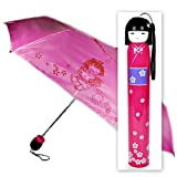 Hot Pink Kokeshi Doll Umbrella w Hard Case For Sale