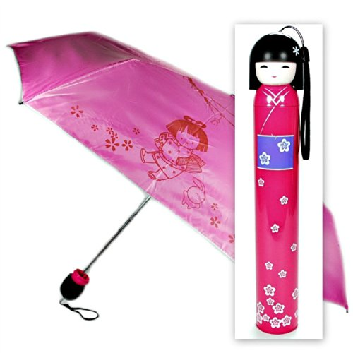 Hot Pink Kokeshi Doll Umbrella w Hard Case