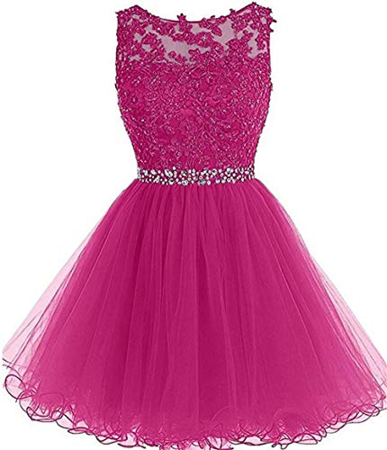 Dydsz Short Homecoming Dresses for Juniors Women Tulle Prom Party Dress Cocktail D126 Hotpink 4