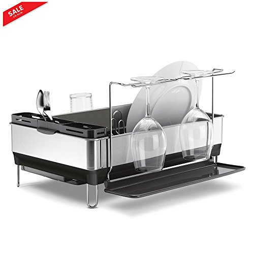 Dish Drying Rack Mount Stainless Steel Sink Dish Rack Modern 4 Wine Glasses Cases Dry Quickly Safely Kitchen Advantage System Drain Tray & eBook by BADA shop