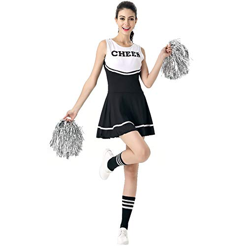 Happy childhood Women's Multicolored Cheerleader Costume Sexy Colorful Girl's Musical Uniform Fancy Dress (Balck)]()