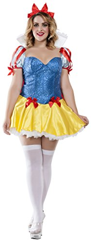 Starline Women's Plus Size Sequin Snow White Costume, Blue/Yellow, 2X