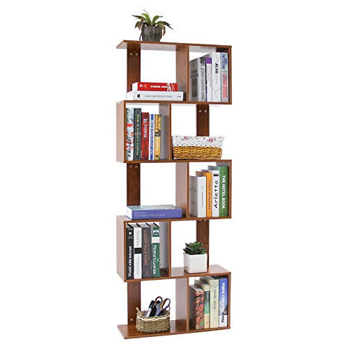 Jerry & Maggie - 5 Tier Shelves Display Bookcase Desk Organizer Storage Wood Closet Multi Units Deluxe Free Stand Shelving Shelves Racks Home Office - Rectangle Shaped | Dark Natural Wood Tone (Desk Closet Small)
