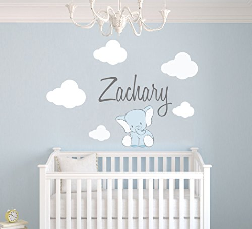 Custom Name Clouds And Elephant Animal Series - Baby Boy - Nursery Wall Decal For Baby Room Decorations - Mural Wall Decal Sticker For Home Children