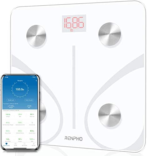 RENPHO Body Fat Scale Smart BMI Scale Digital Bathroom Wireless Weight Scale, Body Composition Analyzer with Smartphone App sync with Bluetooth, 396 lbs – White