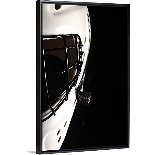 Floating Frame Premium Canvas with Black Frame Wall Art Print Entitled Black and White Goalie Mask 20