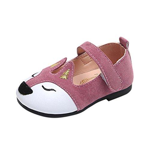 - Girls Toddler/Little Kid/Big Kid Fox Princess Mary Jane Casual Slip On Ballerina Flat Shoes (Pink, Age: 5.5-6T)