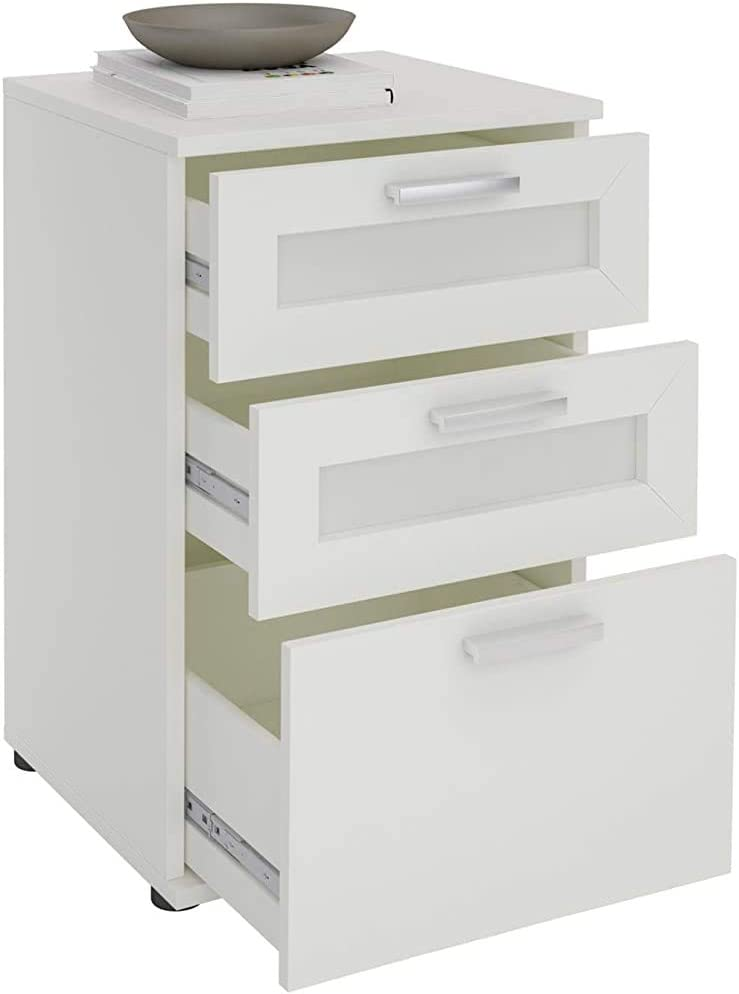 Bedside Storage Drawer 3 Made of Modern Fashion Simple Gray Matte finishes particleboard 40 x 63 x 38 cm,White