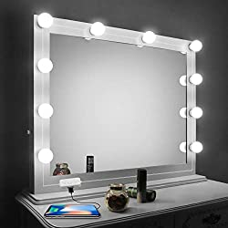 Vanity Mirror Lights Kit,LED Lights for Mirror with Dimmer and USB Phone Charger,LED Makeup Mirror Lights Kit Hollywood Style Lighting Fixture Strip 6500k for Bathroom Dressing Room Vanity Table