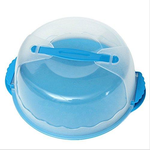Kuchenbehälter, Yosoo 10 Inch Tragbare Runde Tortenschachtel Kuchen Lagerung Kuchenbox aus Kunststoff mit Haube Giff (Blau)