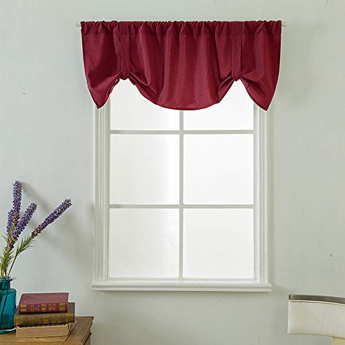 Transer- Tie Up Blackout Curtains for Windows Room Microfiber Darkening Adjustable Tie-up Shade for Kitchen Rod Pocket Tie-up Valance,1 Panel, 52x18 Inches (Red)