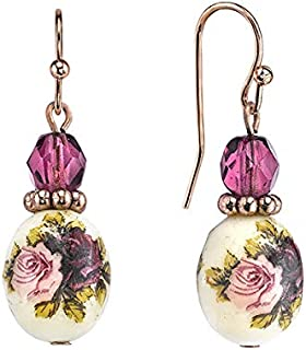 """product image for 1928 Jewelry""""Manor House"""" Oval Bead Flower Drop Earrings"""