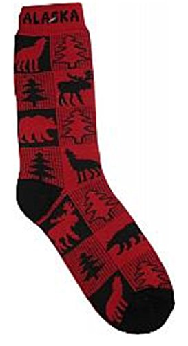 Alaska Novelty Socks Buffalo Plaid Moose ,Wolf, Bear Unisex 8 - 11 Plush Boot Sock Buffalo Plaid Boot