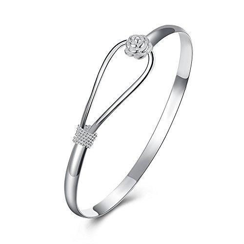 Yuren 925 Sterling Silver Plated Cuff Bangle Bracelet Fashionable Flower Pattern Chain Bracelet Sakura Flower Bangle, Valentine's Day Mother's Day 6.5 Dia