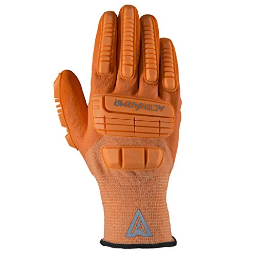 (Ansell 97-120-11 Size 11 Hi Viz Orange ActivArmr 15 Gauge Spandex, Polyester and Nylon Cut Resistant Gloves with Knit Wrist, Kevlar Liner, 3/4 Dipped Neoprene and Nitrile Coating, 1
