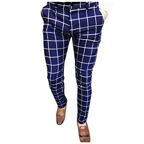 Mwzzpenpenpen Fashion Men Casual Business Slim Fit Plaid Print Zipper Long Pants Stretch Straight Pockets Trousers