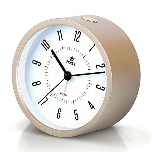 Laigoo Analog Alarm Clock for Bedrooms, Non-Ticking Vintage Alarm Clock Desk/Bedside Clock Round Travel Alarm Clock with Snooze & Nightlight Function for Home/Bathroom/Office(Gold) (Table Clock Round)