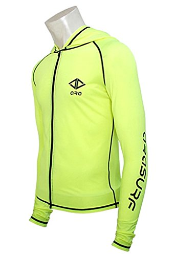 - myglory77mall Mens UV 50+ Protection zipup Hooded Diving Swimwears Surf Rash Guard Yellow US M(L tag)