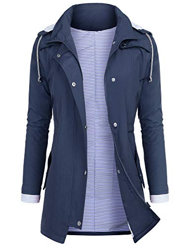 AUDIANO Rain Jackets Women Lightweight Raincoat Striped Lined Waterproof Windbreaker Active Outdoor Hooded Trench Coats Blue XXL (Best Waterproof Windbreaker Jacket)