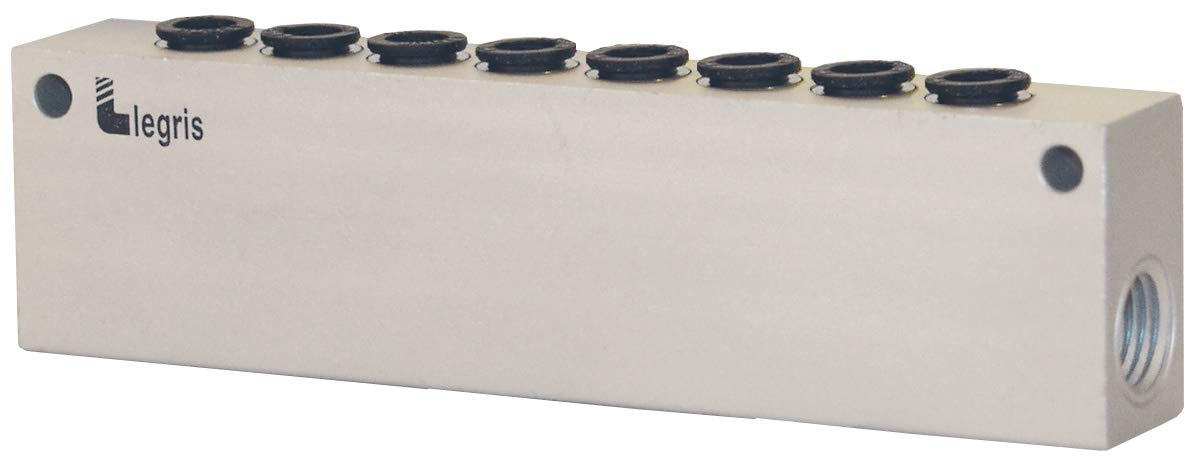 Push-to-Connect Ports 8 Outlets 1//4 NPT 0.25 1//4 OD 1//4 NPT 0.25 Dixon 33155614 Modular Manifold 1//4 OD