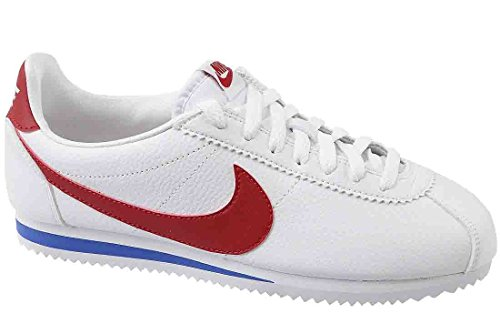 NIKE Men's Classic Cortez Leather, White/Varsity Red, 6.5 M US (Nike Mens Cortez White)
