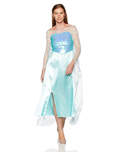 Disguise Women's Disney Frozen Elsa Deluxe Costume, Light Blue, Large/12-14 (Womens Costumes)