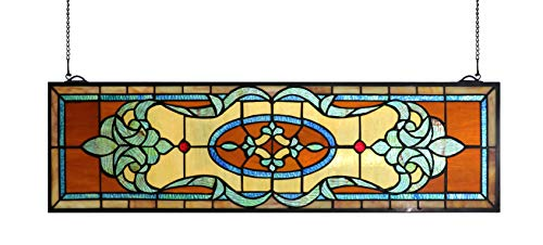 (Yogoart 32 Inch Width Horizontal Stained Glass Window Hangings Tiffany Glass Window Panel 9 Inch Height)