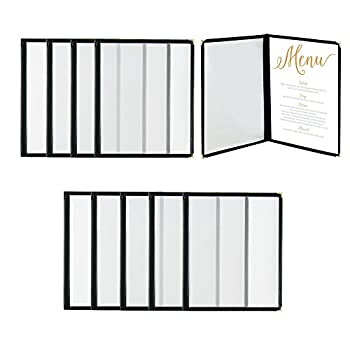 """Houseables Menu Covers, Menus Holder, 8.5"""" x 11"""", 10 Pack, Double Fold, 4 View, Plastic Sleeves, Clear Cover Folders, Decorative Corners, For Restaurant, Hotel, Cafe and Bar"""